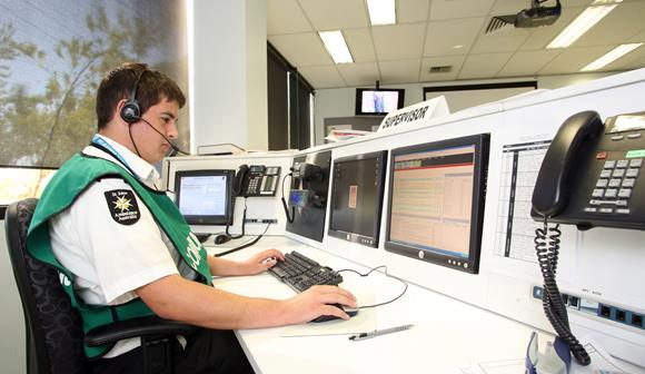 st john first aid at events volunteer working in control centre