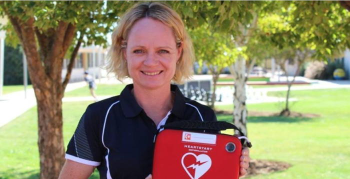 Lady with defibrillator