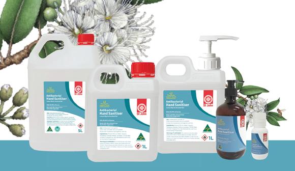 St John antibacterial hand sanitiser gel range product