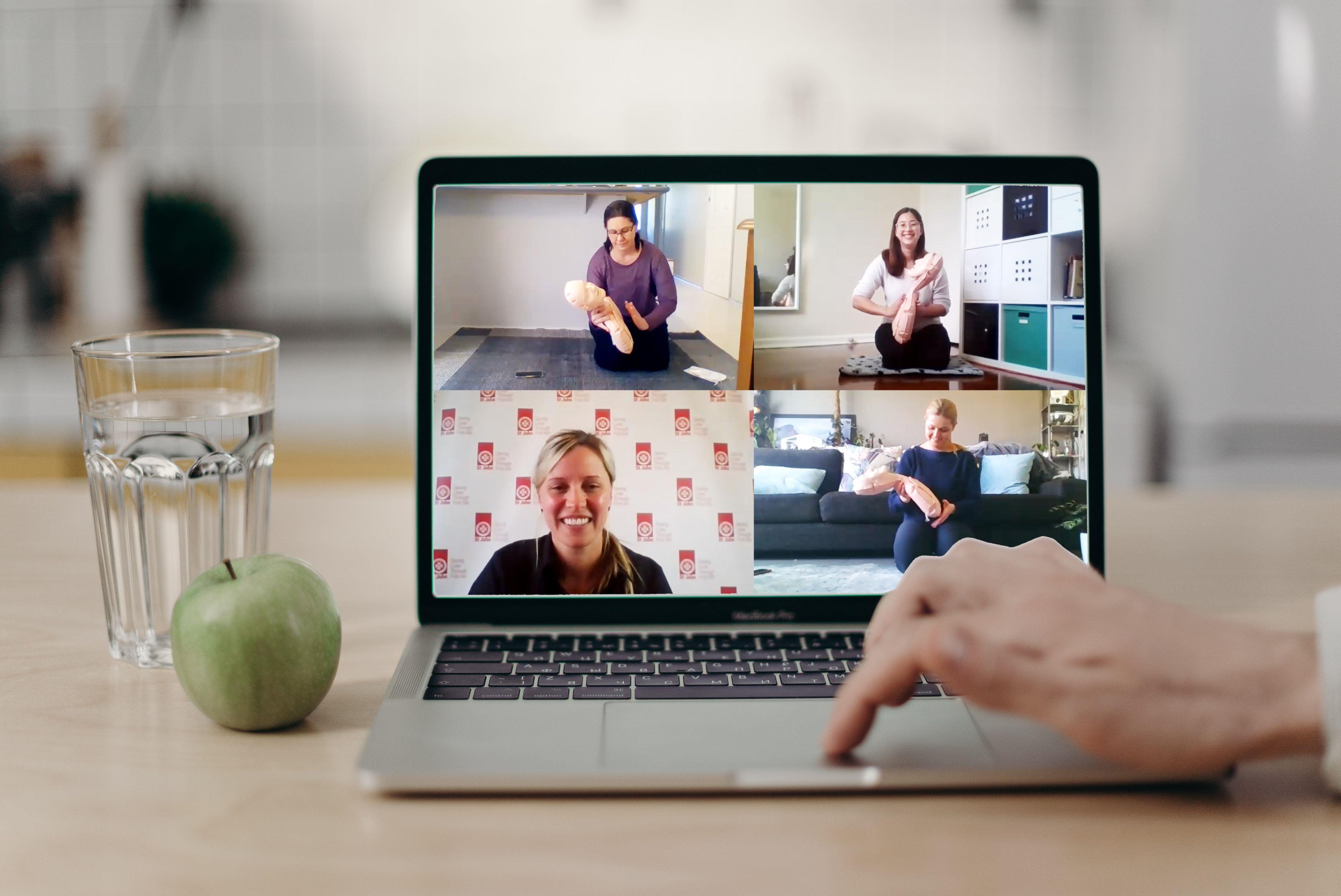 St John Virtual Classroom first aid on laptop