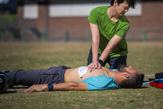 St John first aid training in outdoor field