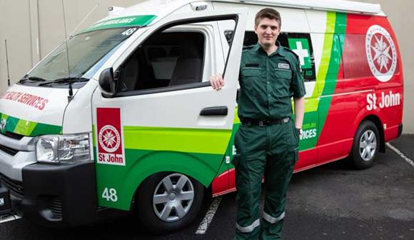 st john first aid at events volunteer with st john vehicle
