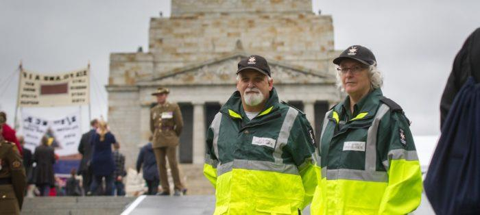 st john first aid volunteers at Anzac Day event