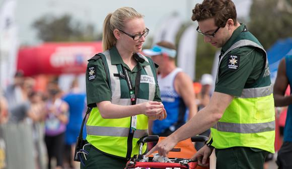 St John first aid at events volunteers with first aid kit