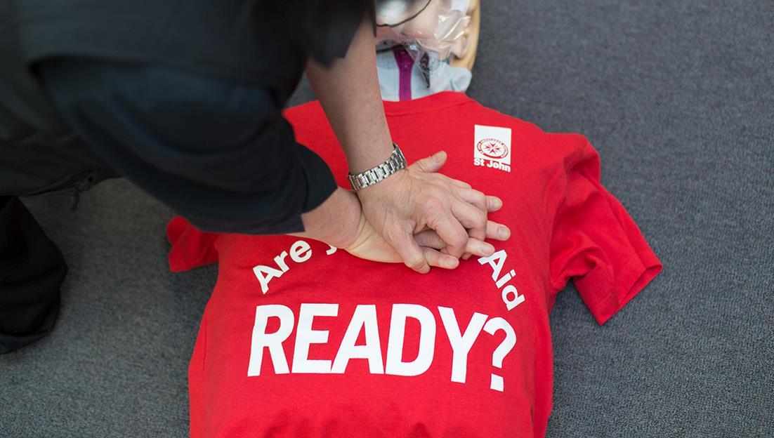 St John first aid training CPR manikin