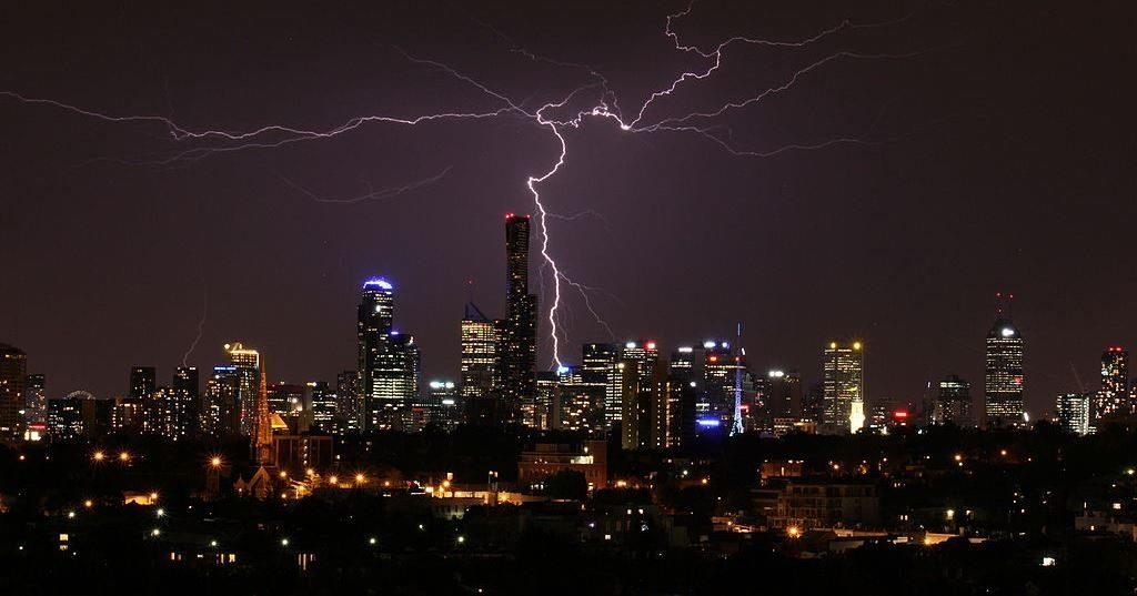 bright lightning over Melbourne city at night
