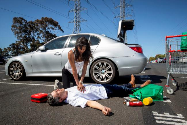 CPR on man in carpark