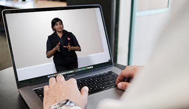 St John first aid training virtual classroom on laptop