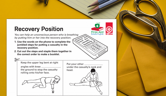 St John First Aid in Schools Program free resource - Recovery position worksheet